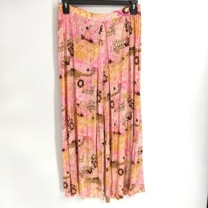 Vintage Pink Floral Wide Leg Pants